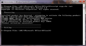 Command Prompt Completed Activation